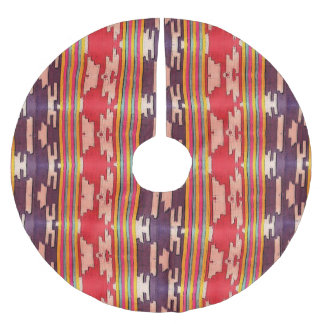 Funky Bright Purple and Red Tribal Pattern Brushed Polyester Tree Skirt
