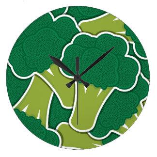 Funky broccoli large clock