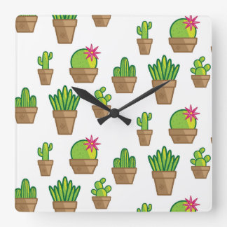 Funky Cactus Square Wall Clock