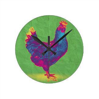 Funky Chicken Round Clock