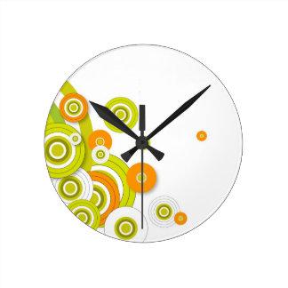 Funky circles on white round clock