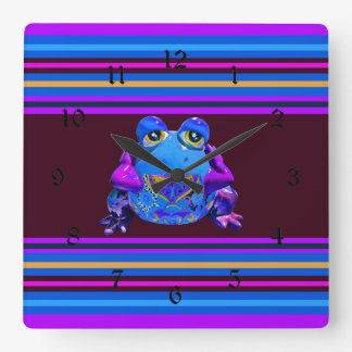 Funky Colorful Frog Blue Purple Funny Gifts Square Wall Clock