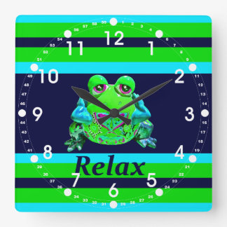 Funky Colorful Frog RELAX Teal Lime Navy Square Wall Clock