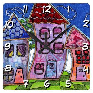 Funky Colorful Houses Wallclocks