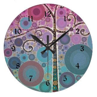 Funky Colorful Scroll Tree Circles Bubbles Pop Art Wall Clocks