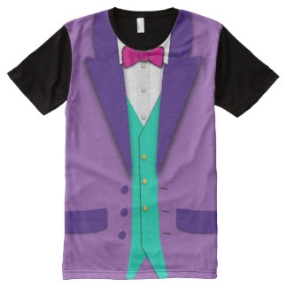 Funky Colors Tuxedo Bowtie and Vest All-Over Print T-Shirt