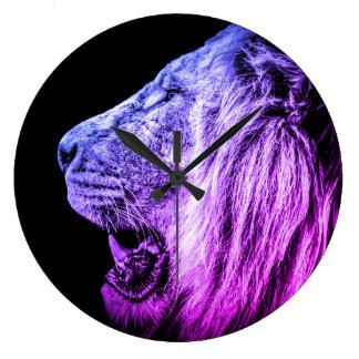 Funky Cool Lion Portrait in Purple Blue on Black Large Clock