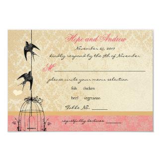"Funky Coral Damask Bird Cage Wedding RSVP 3.5"" X 5"" Invitation Card"