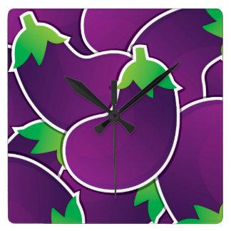 Funky eggplant square wall clock