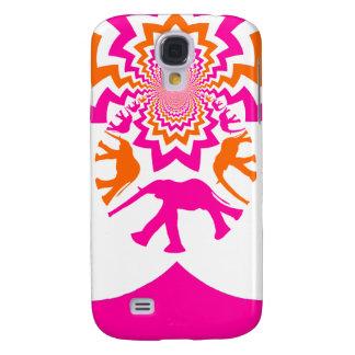 Funky Elephants Kaleidoscope Hot Pink Orange Galaxy S4 Case