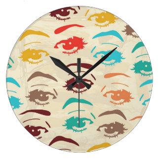 Funky Eyes Graphic Design Large Clock