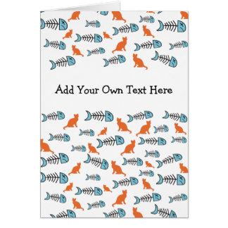 Funky Fish Bone and Cat Greeting Cards - Orange Greeting Card