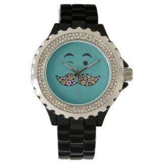 Funky Floral Face with Retro Tash Watch