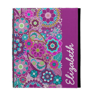 Funky Floral Pattern with Name - Pink Teal iPad Folio Case