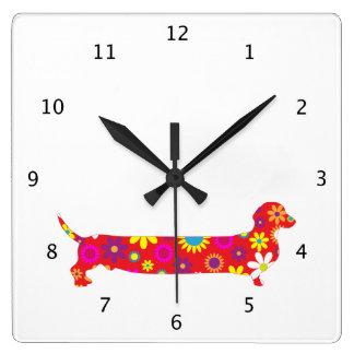 Funky floral retro Dachshund dog funny cartoon Clock