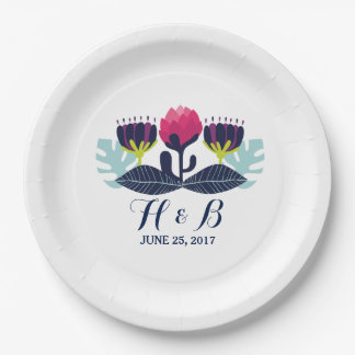 Funky Floral Wedding Paper Plates 9 Inch Paper Plate