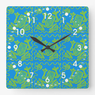 Funky Frog Blue Green Toad Kids Doodle Art Square Wall Clock