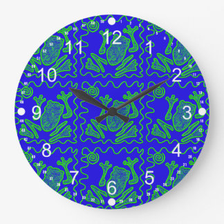 Funky Frog Colorful Toad Kids Doodle Art Gifts Large Clock
