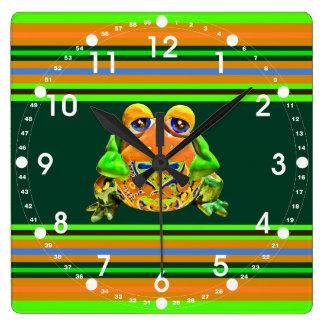 Funky Frog Orange Green Striped Novelty Gifts Clocks