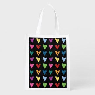 Funky Fun Heart Doodles Reusable Grocery Bag