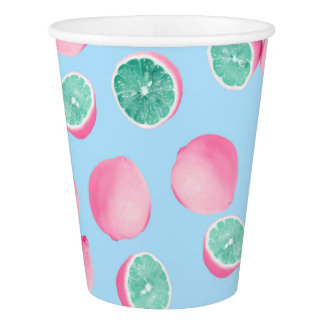 Funky Fun Lemons in Pink and Teal Paper Cup