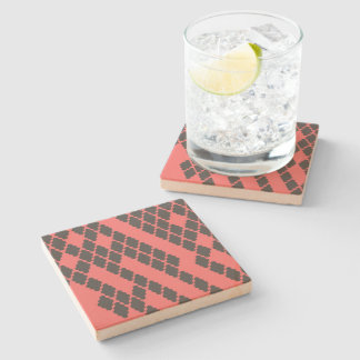 Funky Geometric Red Black Chequered Pattern Stone Beverage Coaster