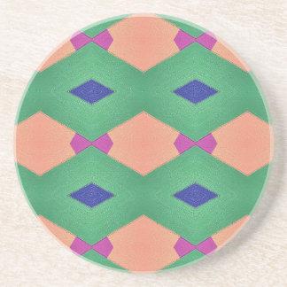 Funky Green Blue Peach Seamless Pattern Coaster