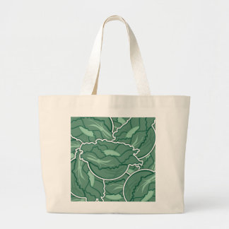 Funky green cabbage large tote bag