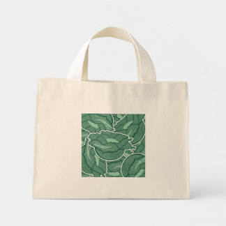 Funky green cabbage mini tote bag