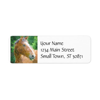 Funky Horse Circles Bubbles Modern Art Return Address Label