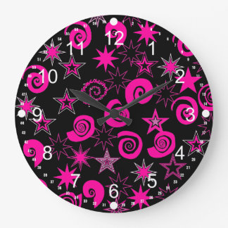 Funky Hot Pink Black Stars Swirls Fun Pattern Gift Large Clock