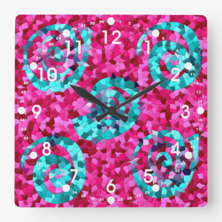 Funky Hot Pink Teal Blue Mosaic Swirls Girly Gifts Square Wall Clock