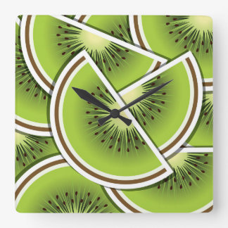 Funky kiwi fruit wedges square wall clock