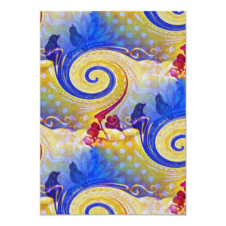 Funky Lollipop Swirl Pattern Roses Birds 13 Cm X 18 Cm Invitation Card