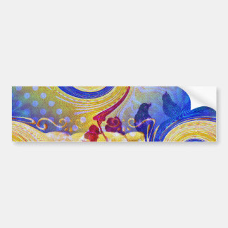 Funky Lollipop Swirl Pattern Roses Birds Bumper Sticker