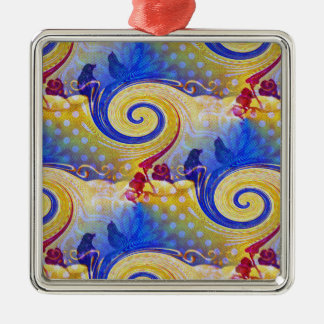 Funky Lollipop Swirl Pattern Roses Birds Silver-Colored Square Decoration