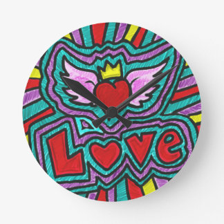 Funky Love Doodle Round Clock