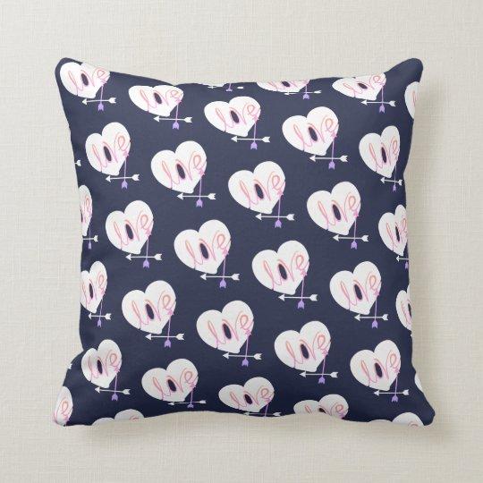Funky Love Heart Arrows Throw Pillow Cushion