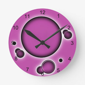 Funky Luminous Pinkish Abstract Circles Round Clock