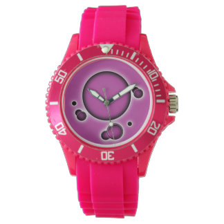 Funky Luminous Pinkish Abstract Circles Watch
