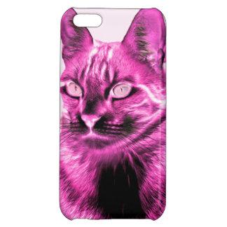 Funky magenta cat negative iPhone 5C covers