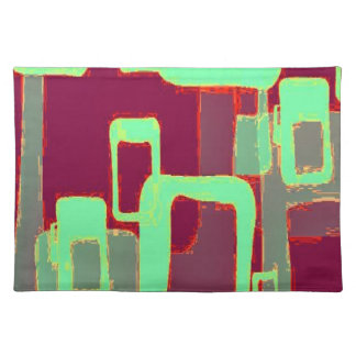 Funky Mint Geometric Squares Placemat