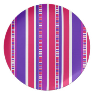 Funky Modern Stripes in Hot Pink and Purple Plate