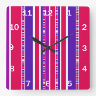 Funky Modern Stripes in Hot Pink and Purple Square Wall Clock