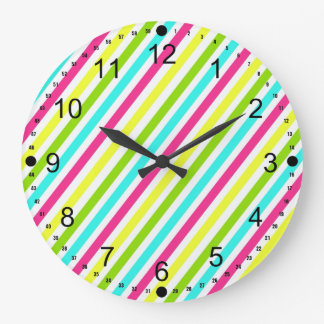 Funky Neon Pink Blue Green Yellow Stripes Large Clock