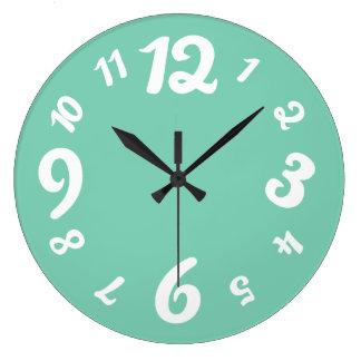 Funky Numbers Retro Clock Custom Color