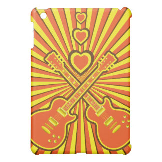 Funky Orange, Yellow & Brown Guitars & Hearts iPad Mini Covers