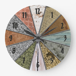 Funky Patterns Colourful Grunge Textures Wall Clocks
