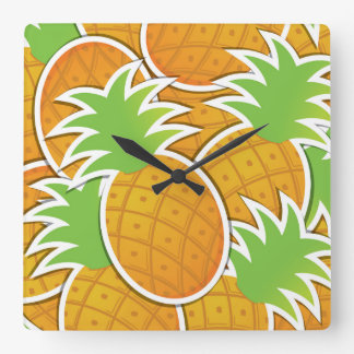 Funky pineapple square wall clock