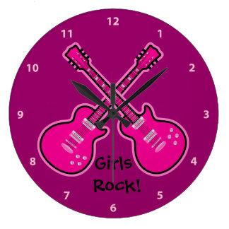 Funky Pink & Black Guitars Girls Rock Clock